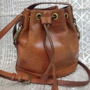 Vintage Liz Claiborne Cognac Leather Bucket Bag